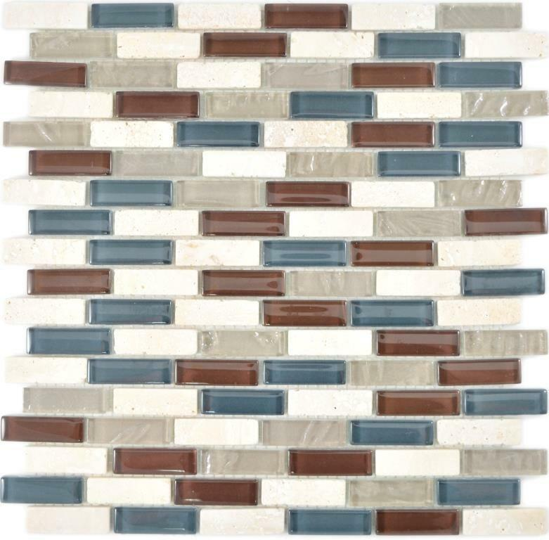 Transluzent Mosaik Verbund Glasmosaik Stein botticino klar grau braun WB88-0213