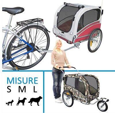 Rimorchio bici bicicletta per trasporto cane passeggino trasportino carrello da