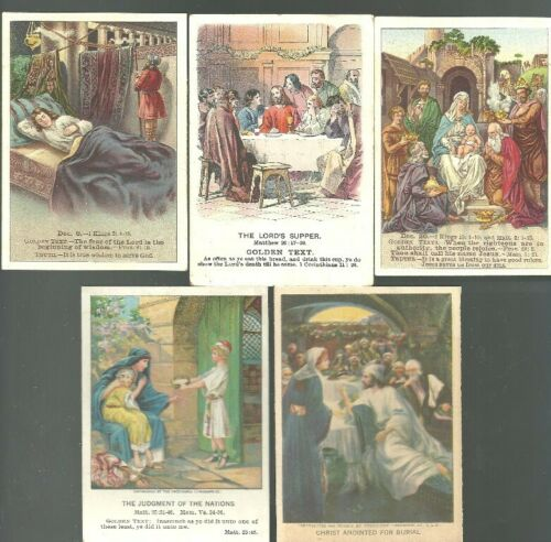 fl727md - Lot of 5 Vintage Bible Lesson Cards