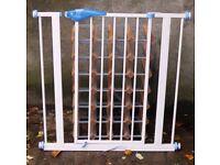 2 Lindam Safety Stair Gates, one metallic, one wooden.