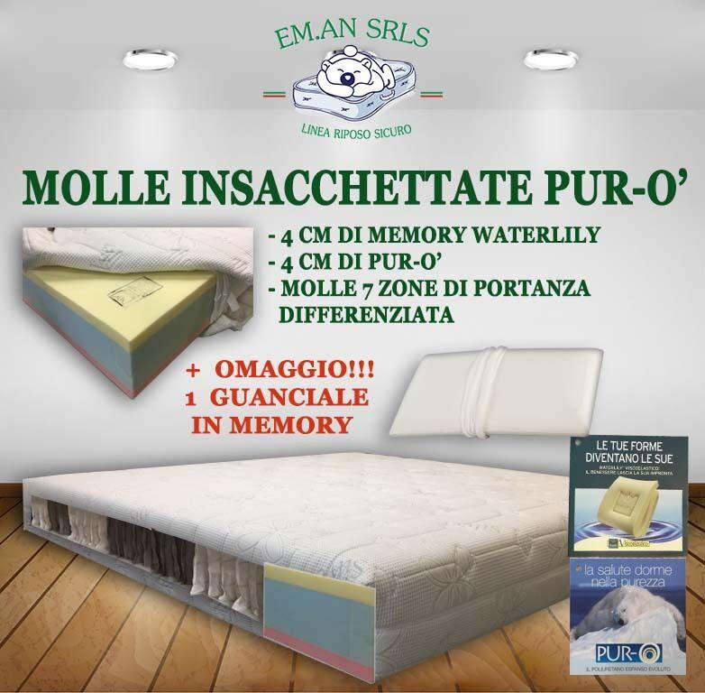 Materassi 2 Piazze Prezzi.Materasso Molle Insacchettate Piazza1 2 Memory Waterlily Puro