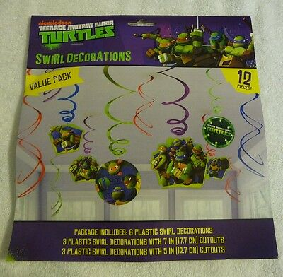Teenage Mutant Ninja Turtles TMNT Party Supplies Swirl hanging Decorations 12pcs - Ninja Turtles Party Decorations