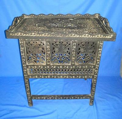 Antique Old Collectible Wooden Hand Carved Center/Side Folding Decorative Table  Collection Folding Wood Side Table