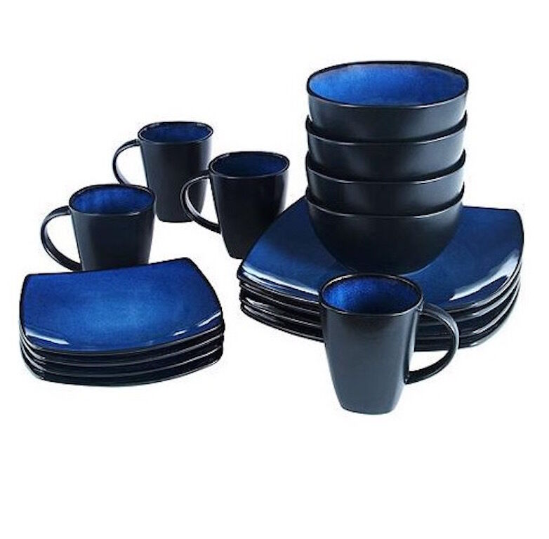 Blue Square Dinnerware Set Dining Plates Dishes Bowls 32 Mugs 8 Piece Blac Place