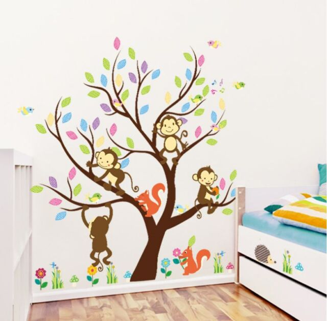 Jungle Animals Tree Monkey Removable Wall Stickers Nursery Decor