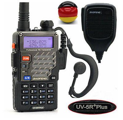 DE BaoFeng *UV-5R Plus + orig. Mikrofon VHF/UHF 136-174/400-520MH Hand-Funkgerät