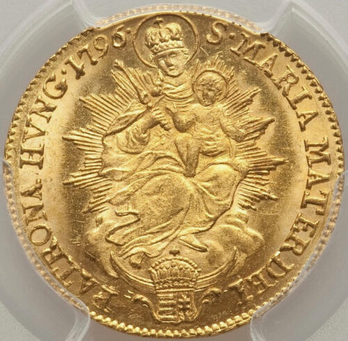 1796 Hungary Franz II gold ducat PCGS MS61, SHINING, FLAXEN GOLD FROSTINESS
