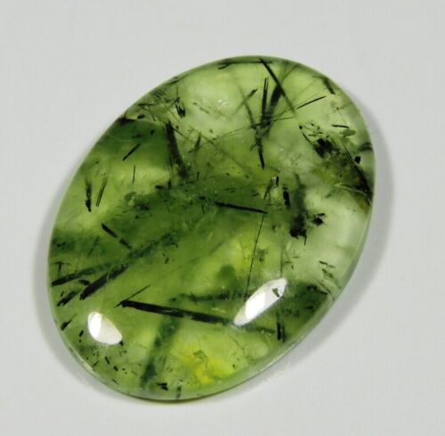 47 Ct Rare 100% Natural Designer Rutilated Green Prehnite Cabochon Gemstone A132