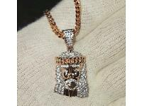 Rose Gold Jesus Pendant & Chain