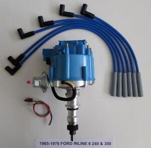 ford inline straight 6 cylinder 65-76 240 300 4 9l hei distributor + plug