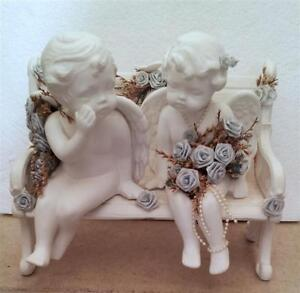 JUST MARRIED ANGELS COUPLE SITTING ON BENCH STATUE London Ontario image 1