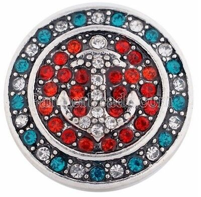 Silver Red Blue Clear Anchor of Life 20mm Snap Charm For Ginger Snaps Jewelry