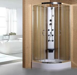 900mm Quadrant corner entry hydra massage pod shower cubicle enclosure jets tray