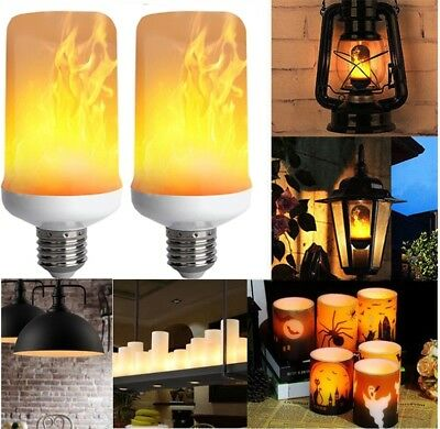 ( 2Pcs E27 LED Flicker Flame Light Bulb Simulated Burning Fire Effect Nature Lamp)