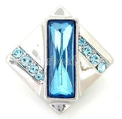 Silver Blue Square Rhinestone 20mm Snap Interchangeable Charm For Ginger Snaps