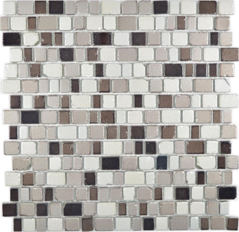 Crystal Mosaik Glasmosaik Steinoptik coffee silber Wand Küche Bad  WB85-1213