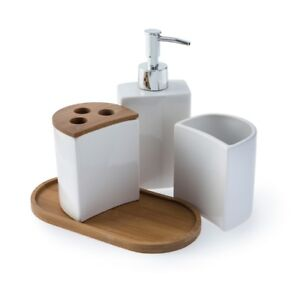Modern 4 Piece Natural Ceramic Bamboo Wood Nesting Tray Bathroom Accessory Set