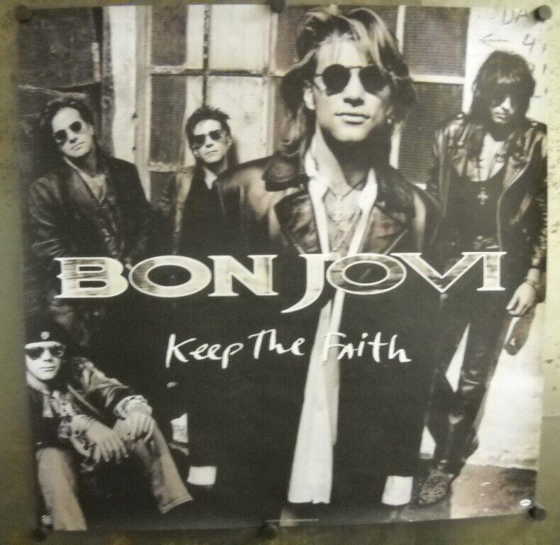 BON JOVI Large Rare 2-sided 1992 record company PROMO POSTER Keep The Faith