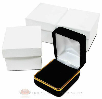 3 Piece Black Velvet Ring Jewelry Gift Boxes Gold Trim 1 78 X 2 18 X 1 12h