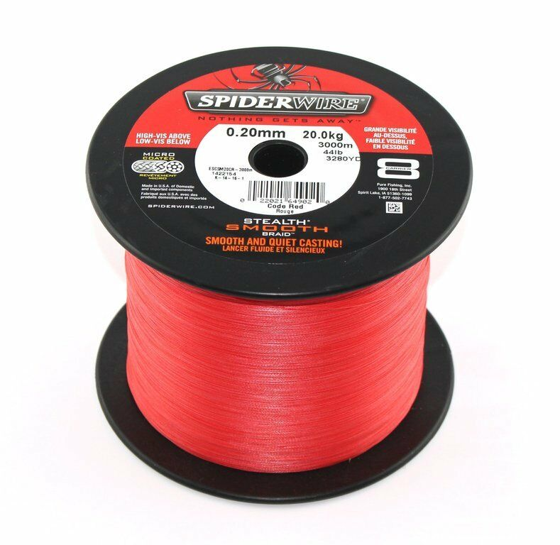 (0,079€/m) SPIDERWIRE Stealth Smooth 8 Red - je 25m, geflochtene Angelschnur