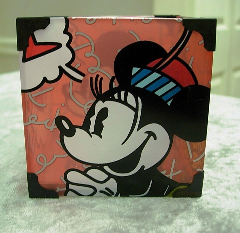 DISNEY BRITTO MICKEY AND MINNIE GLASS VOTIVE LED TEALIGHT CANDLE HOLDER #4019371