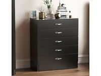 Brand New Unused Black Chest of Drawers, 5 Drawer With Metal Handles