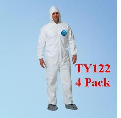 Dupont Ty122s Xlg Disposable Tyvek Coverall Hood Boots - 4 Pack