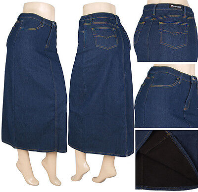 NWT Women XS-S-M-L-XL PENCIL Long Skirt Stretch Denim Flannel lined - Flannel Lined Skirt