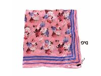 D&G MULTICOLOR FLORAL COTTON SCARF DOLCE GABBANA VALENTINES GIFT