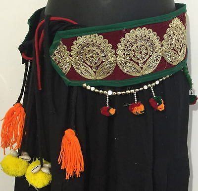 Tribal fusion zardozi textile Belly Dance tassel  Hip scarf waist India belt ATS