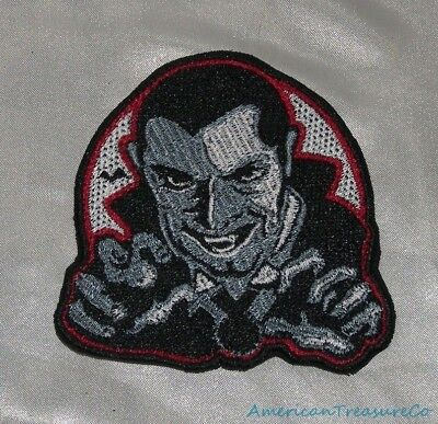 Embroidered Halloween Dracula Vampire B&W Movie Monster Horror Patch Iron On USA](Black And White Halloween Movie)