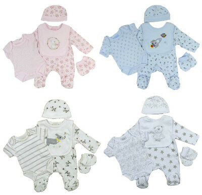 Baby Sleepsuit Vest Bib Mitts Cradle Cap Layette Five Piece Set Boy Girls Unisex