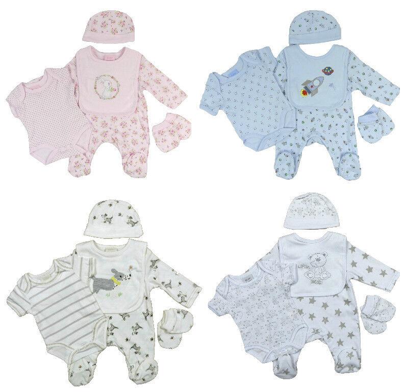 Baby Schlafanzug Weste Lätzchen Fäustlinge Wiege Mütze Erstausstattung Fünf