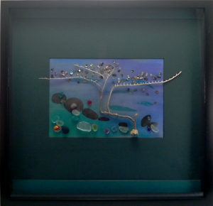 Sea Glass & Paua Shell Mixed Media Feature Frame Handmade Mudgeeraba Gold Coast South Preview