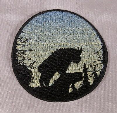 Embroidered Mountain Goat Sunrise Silhouette Ombre Circle Patch Iron On Sew USA ()
