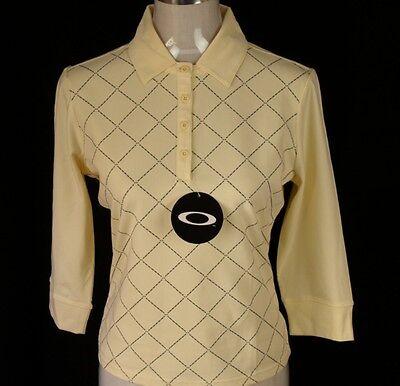 Gelb L/s Shirt (Neu mit Etikett DAMEN Original Oakley Stretch L/S POLOSHIRT Xs Neu Gelb)