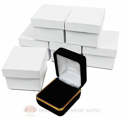 6 Black Velvet Ring Jewelry Gift Boxes Gold Trim 1 78 X 2 18 X 1 12h