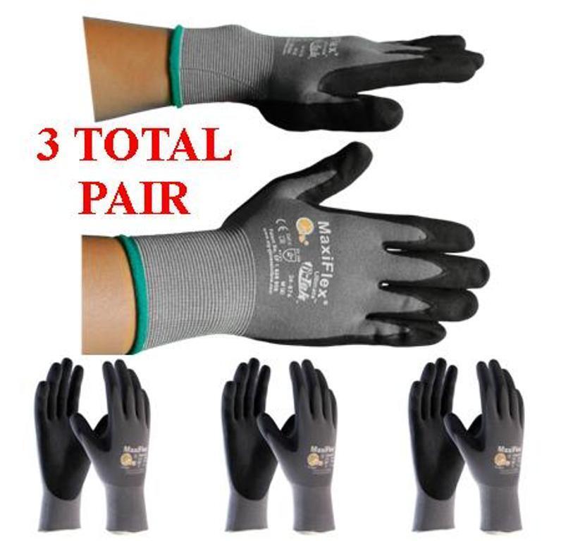 G-Tek MaxiFlex 34-874 PIP Seamless Knit Nylon Gloves - (3 Pairs) - Choose Size!