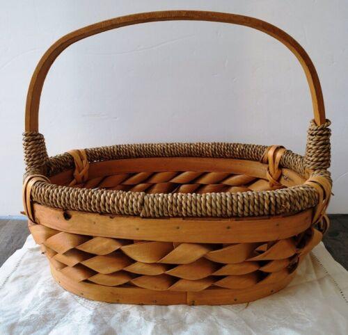 Superb Handmade Handled Basket Twisted Wood Design Rope Trim