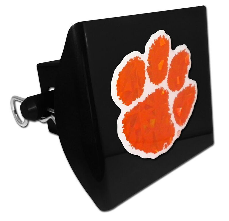 CLEMSON UNIVERSITY LOGO REFLECTIVE DECAL BLACK ON PLASTIC TRAILER HITCH COVER