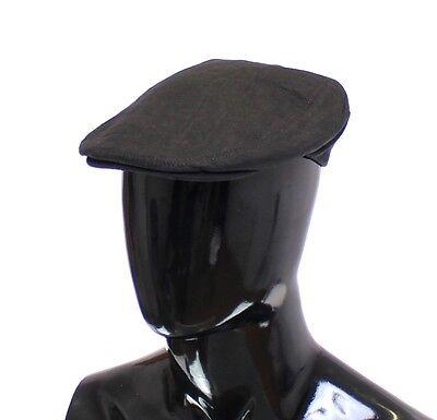 NWT $240 DOLCE & GABBANA Blue Linen Logo Newsboy Cap Hat Cabbie s. 58 / M