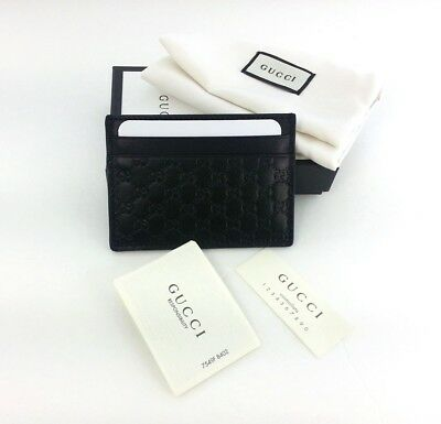Authentic Gucci Micro Guccissima Black Leather Card Case Card Holder