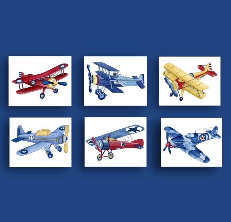 airplane wall art decor for boy nursery, airplane watercolor art prints