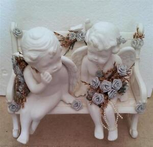 JUST MARRIED ANGELS COUPLE SITTING ON BENCH STATUE London Ontario image 3