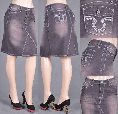 NWT Stretch Denim Grey Mid Length A-Line Skirt,size S to 3XL - #SG-75645