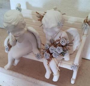 JUST MARRIED ANGELS COUPLE SITTING ON BENCH STATUE London Ontario image 7