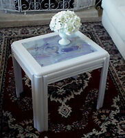 Mod Wood Side Table Silk Abstract Design on Glass Top Insert