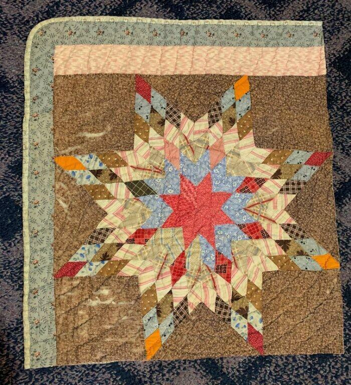Antique Fabric Star Cutter Quilt Pc Browns Pinks Farmhouse Prim 22x25