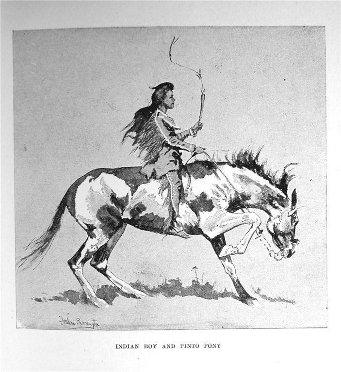 1892 INDIAN BOY ON PINTO PONY PRINT BY FREDERIC REMINGTON WESTERN HISTORY