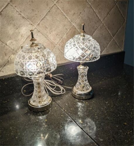 Two Vintage Gilbert Crystal / Cut Glass 12-inch Lamps